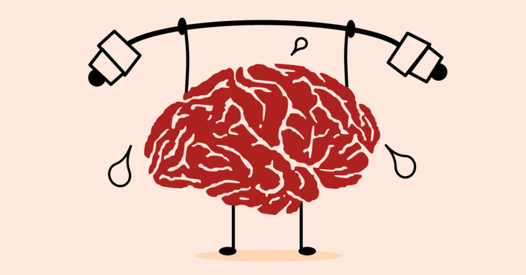 Cartoon of a brain lifting weights and sweating